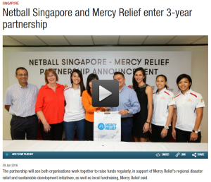 Channel News Asia, 29 June 2016 - Netball Singapore and Mercy Relief