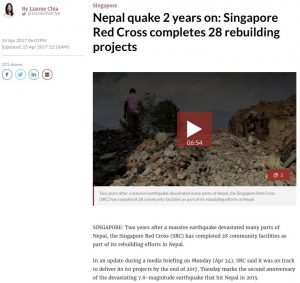 Channel NewsAsia, 24 April 2017 - Nepal quake 2 years on: Singapore