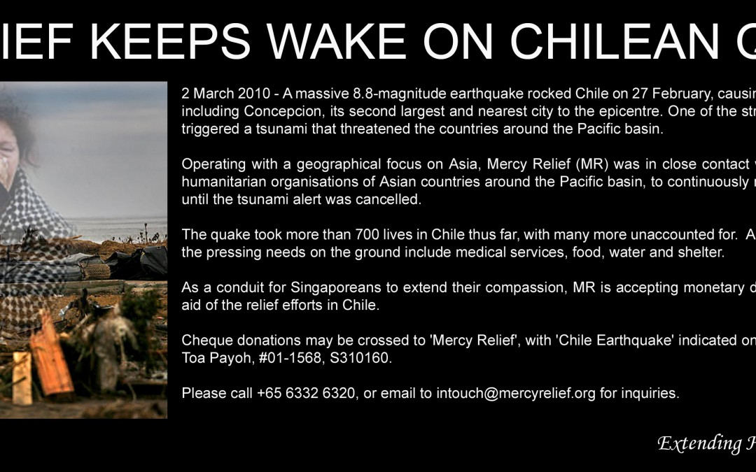 Mercy Relief keeps wake on Chilean quake