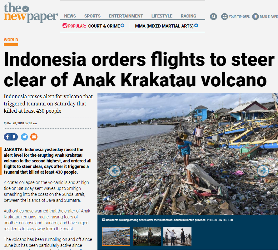 The New Paper Online, 28 December 2018 – Indonesia orders