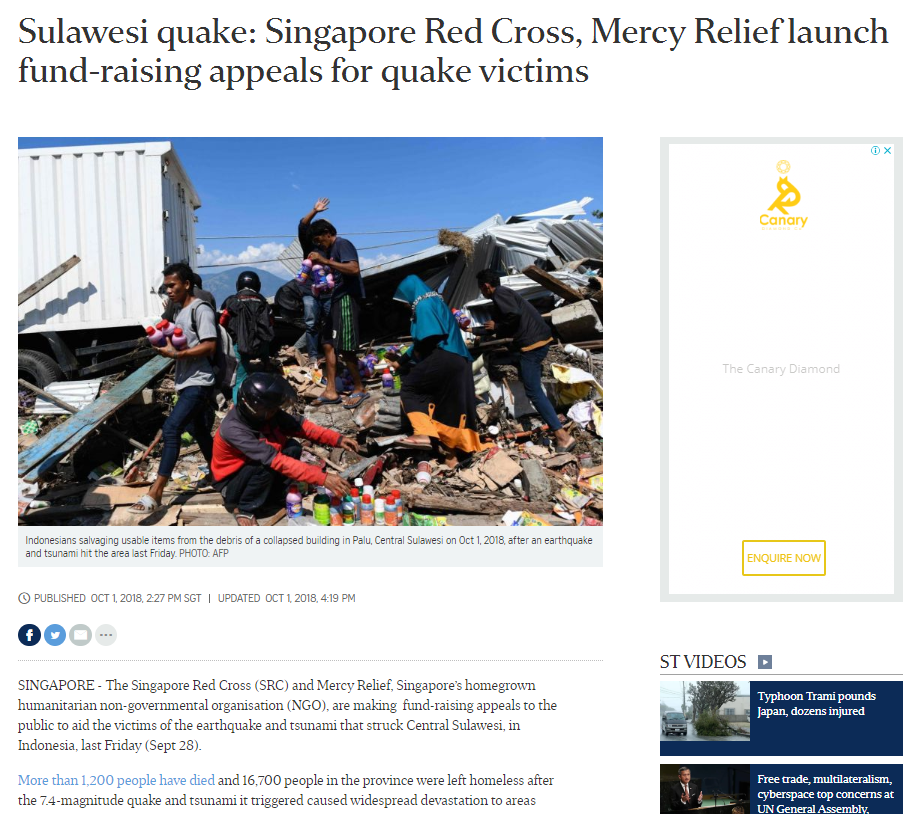 2d114b0b6bd The Straits Times Online, 2 October 2018 – Sulawesi quake: Singapore Red  Cross, Mercy Relief launch fund-raising appeals for quake victimsReading  Time: 1 ...