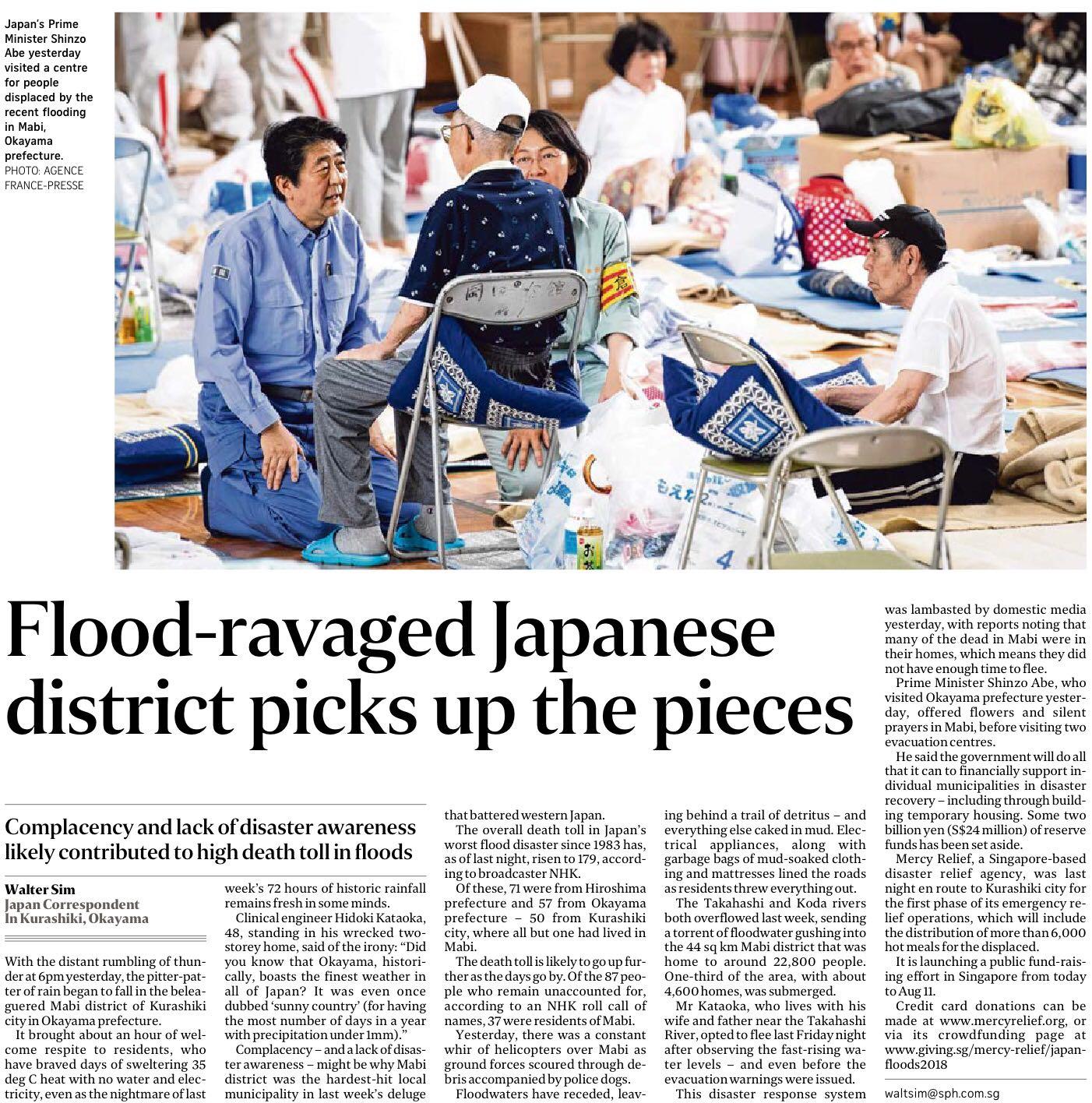The Straits Times, 12 July 2018 - Flood-ravaged Japanese